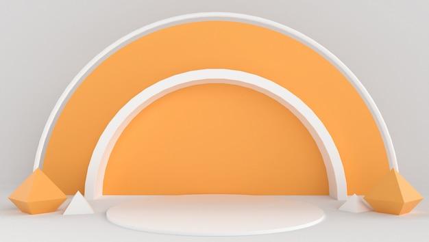 最小限の抽象的な背景を持つ白とオレンジ色の3 dレンダリング。シェイプとジオメトリを使ったステージショー。