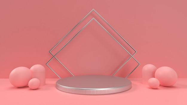 抽象的な幾何学的、シーン、表彰台、ステージ、ディスプレイの3 dレンダリング。ピンク色調。