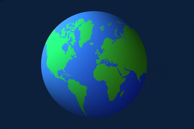 青色の背景、3 dイラストレーション上の地球地球儀