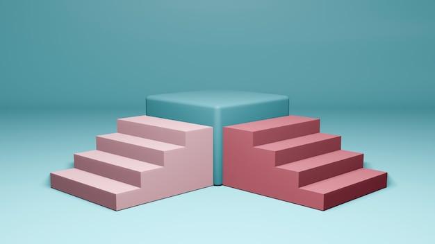 最小限のスタイルの表彰台またはカラフルなパステル調の背景に台座の3 dレンダリング。抽象的な概念。