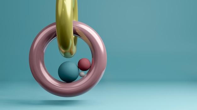 カラフルなリングとパステル調の背景にボールの最小限のスタイルの3 dレンダリング。抽象的な孤立した背景の概念。