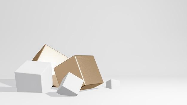 白と金の形をした最小限のスタイルのポリゴンの3 dレンダリング。抽象的な孤立した背景の概念。