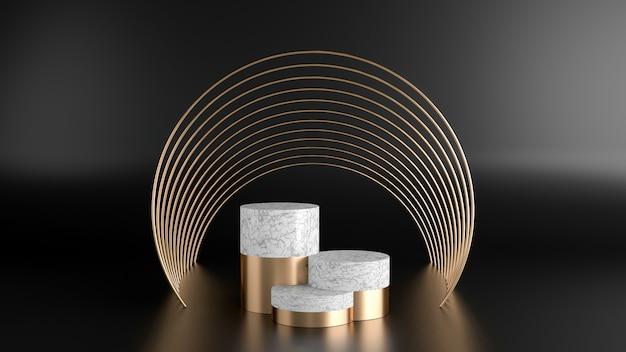 白い大理石と黄金の形をした最小限のスタイルポリゴンの3 dレンダリング。抽象的な孤立した背景の概念。