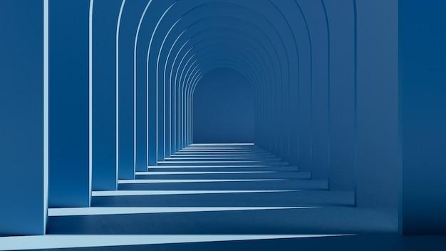 ダークブルーのインテリアデザインの3 dレンダリング。抽象的な背景のコンセプト。