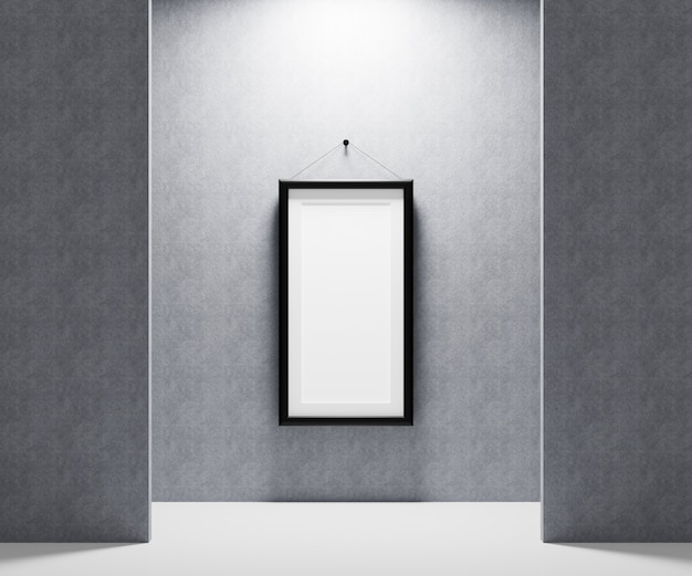 あなたの写真を挿入するための壁に掛かっている空白の額縁。 3 dレンダリング図。