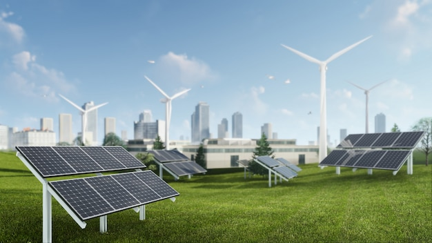 風車と太陽電池の持続可能なエネルギーの3 dレンダリング図