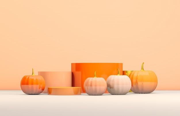 オレンジ色のシリンダーボックスと製品表示用のカボチャと抽象的な3 dハロウィーン表彰台。