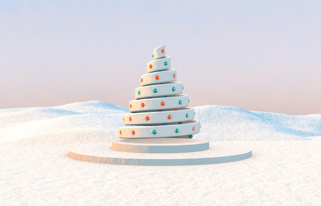抽象的な3 d構成。冬のクリスマスツリーとクリスマスの背景。
