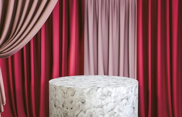 製品展示用の赤いカーテンが付いた白い大理石のシリンダー表彰台。 3 dレンダリング。豪華なシーン。