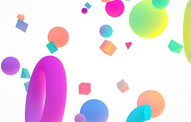 抽象的なカラフルな3 dアートの背景。孤立した白地に浮かぶホログラフィック幾何学形状。メンフィススタイル。