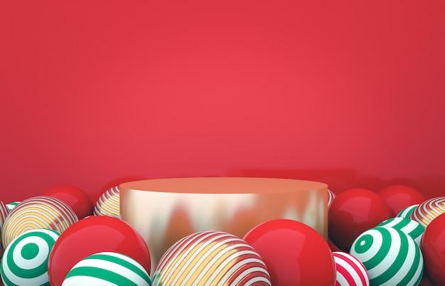 クリスマスボールの背景を持つ空のシリンダーボックス。高級化粧品の展示シーン。 3 dレンダリング。