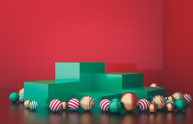 クリスマスボールの背景を持つ空のキューブボックス。高級化粧品の展示シーン。 3 dレンダリング。