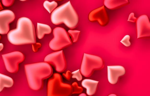 孤立した背景に甘いバレンタインの赤いハート形のお菓子。コンセプトが大好きです。赤の背景。上面図。 3 dレンダリング。