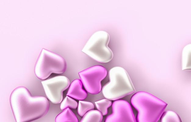 孤立した背景に甘いバレンタインのピンクハート形のお菓子。コンセプトが大好きです。ピンクの背景。上面図。 3 dレンダリング。