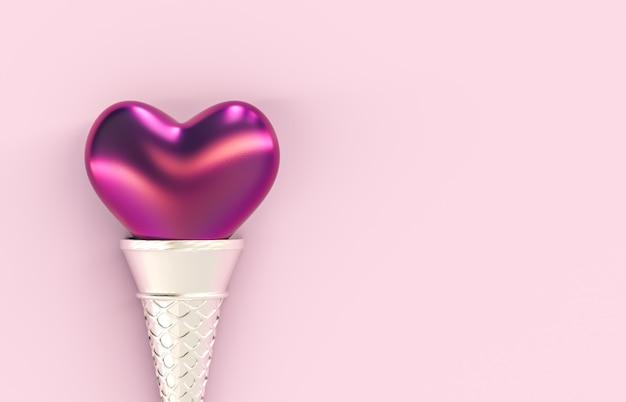 孤立した背景にアイスクリームコーンと甘いバレンタインのハート形ロリポップキャンディ。コンセプトが大好きです。上面図。平干し。 3 dレンダリング。