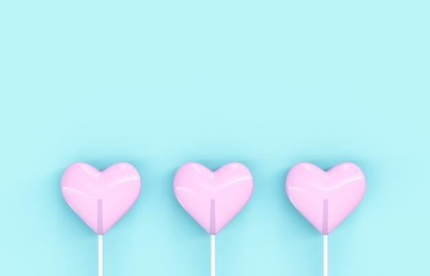孤立した背景に甘いバレンタインのピンクハート形ロリポップキャンディー。コンセプトが大好きです。上面図。ミニマリズムのカラフルなヒップスタースタイル。 3 dレンダリング。