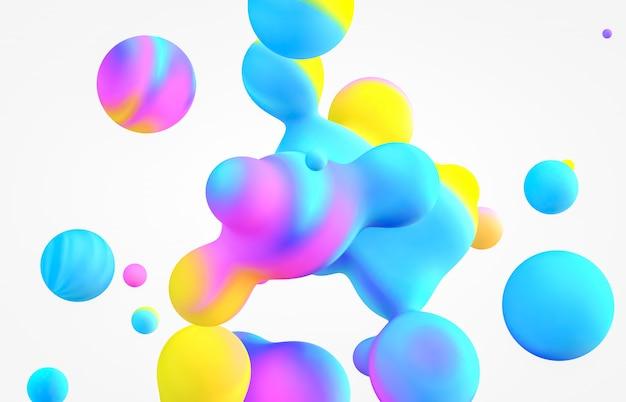 3 dアートの背景を抽象化します。ホログラフィック浮遊液体ブロブ、シャボン玉