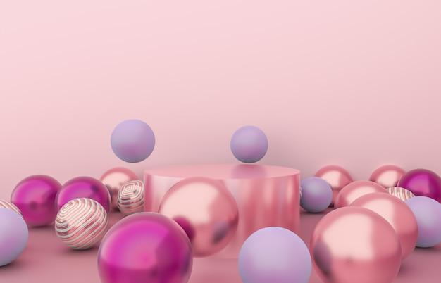クリスマスボールの背景を持つ空のシリンダーボックス。高級化粧品展示シーン。 3 dのレンダリング。