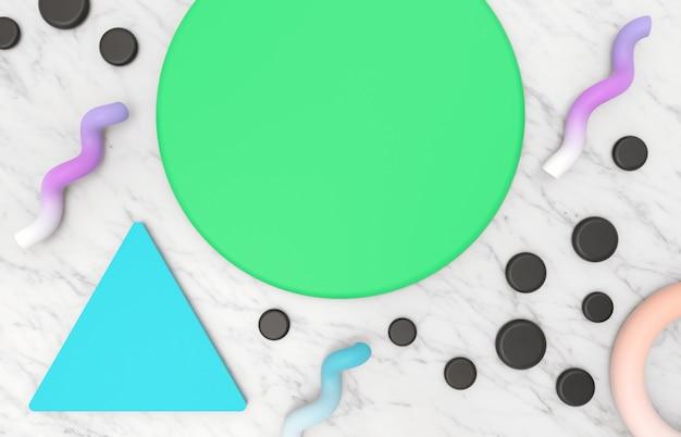 メンフィスの幾何学的形状と大理石の石の背景を持つ製品表示の抽象的な美容ファッション背景。 3 dのレンダリング。