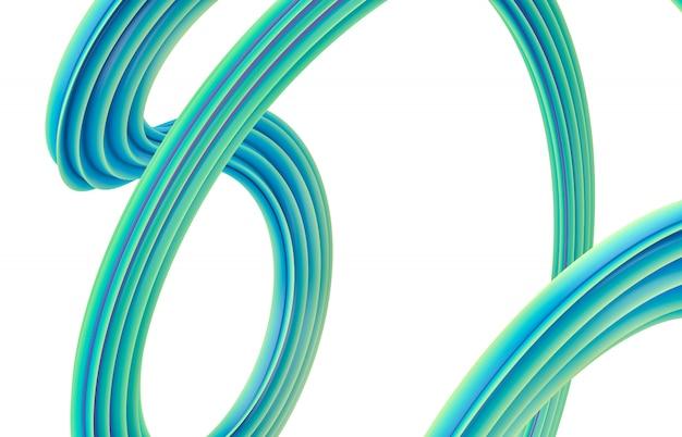 3 dアートの背景を抽象化します。カラフルな幾何学的な波状のライン形状構成。縞模様。