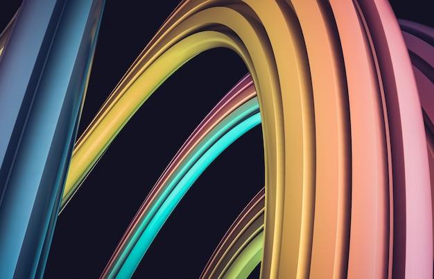 抽象的な3 dアートブラシストロークの背景。カラフルな幾何学的な波状のライン形状構成の壁紙。縞模様。