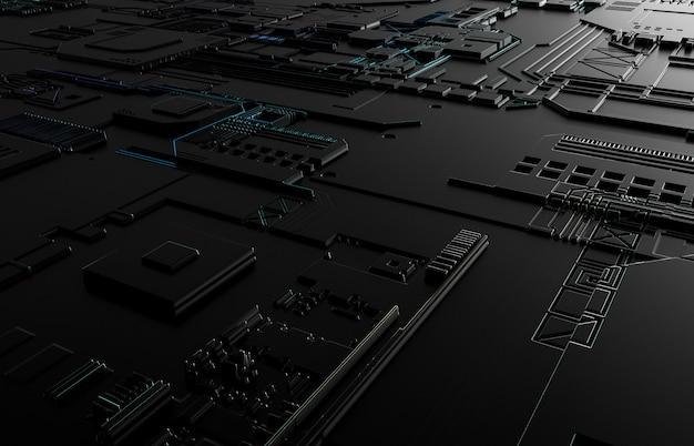 技術回路基板の質感と未来的な抽象的な背景。 3 dの黒の技術の背景。