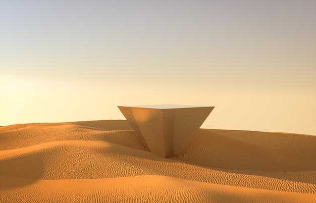 ミラー表彰台を背景に抽象的な砂漠の背景。 3 dのレンダリング。