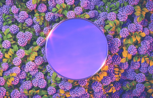 アジサイの花の背景に抽象的な丸いミラー表彰台背景。 3 dのレンダリング。