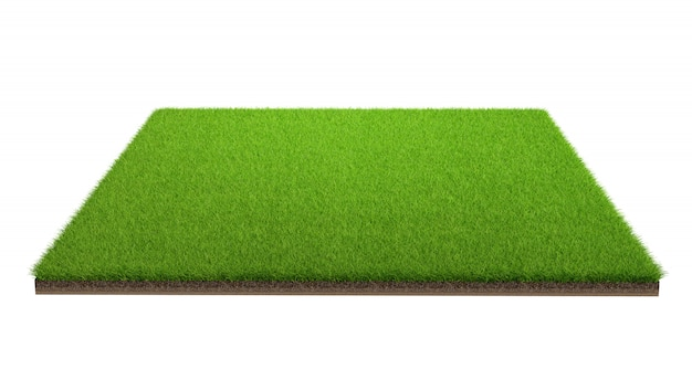 クリッピングパスと白い背景で隔離の緑の芝生フィールドの3 dレンダリング。スポーツ場