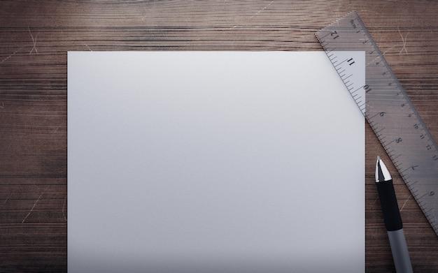 紙、定規、木製テーブル3 dレンダリングのペン