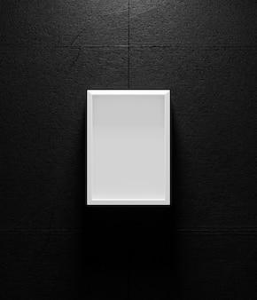 暗い壁、3 dのレンダリングに白い額縁