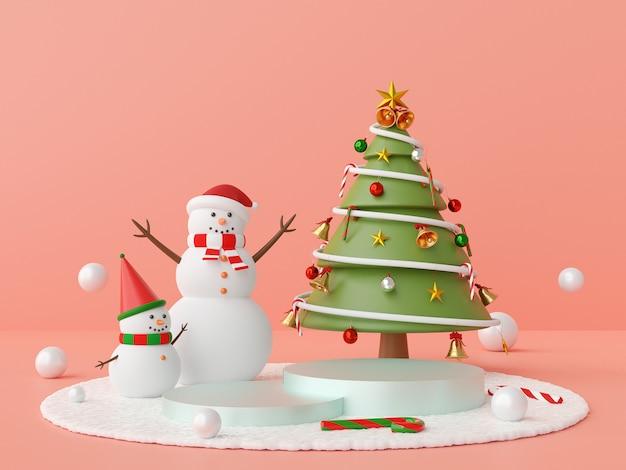 雪だるまとクリスマスツリーの3 dレンダリングとクリスマスの表彰台