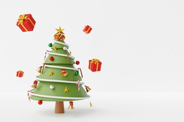 ギフト付きの3 dレンダリング装飾クリスマスツリー