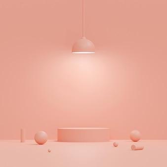 ピンクの背景、3 dレンダリングのランプと幾何学的形状の表彰台とパステルカラーのシーン