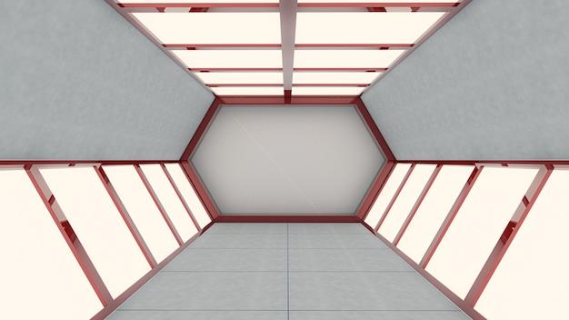 抽象的な背景、六角形のトンネル、ゲートの3 dレンダリング