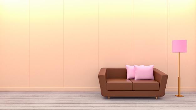 モダンなリビングルーム、赤いソファ、白のランプの3 dレンダリング