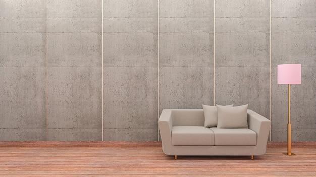 モダンなリビングルーム、灰色のソファー、ランプ、ロフトスタイルの3 dレンダリング