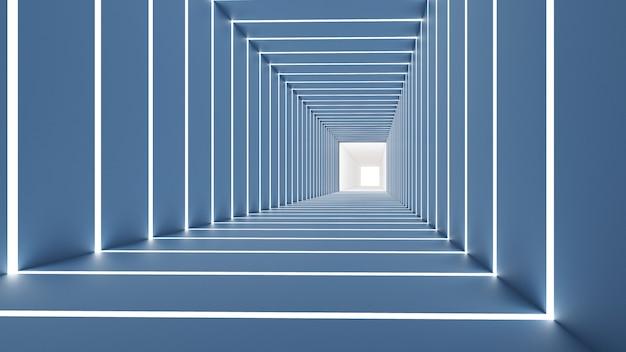 四角形の3 dレンダリング、背景、青と光の色調で抽象化