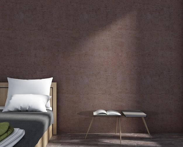 シンプルなスタイルのベッドルームと壁紙の3 dレンダリング暗い赤