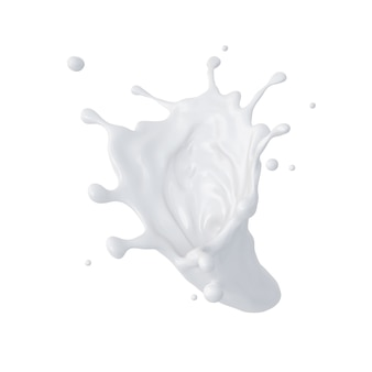 3 dの抽象的な液体牛乳のスプラッシュ、塗料や接着剤のしぶきを分離