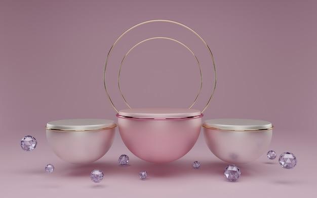 3 dレンダリング、抽象的な化粧品パステルカラー。