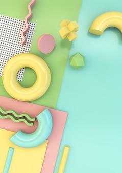 レトロなスタイルの背景3 dレンダリングの幾何学的要素
