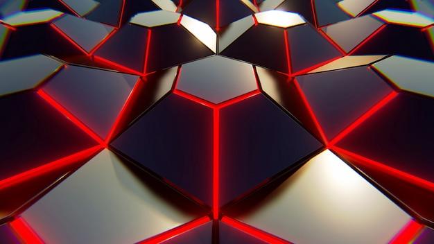 黒青とオレンジ色の六角形の背景。モダンな背景3 dイラスト