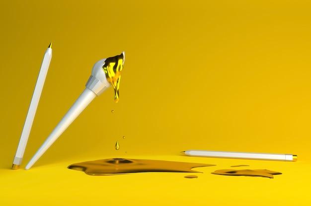 黄色の塗料と鉛筆でブラシの3 dレンダリング