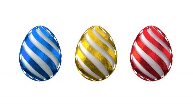 マルチカラー箔で装飾された卵の3 dレンダリング。イースターのデザイン要素。孤立した