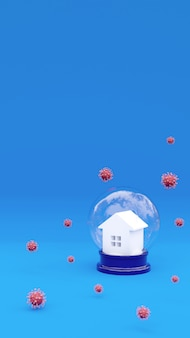 3 dレンダリング家とコロナウイルスの分子。啓発ソーシャルメディアキャンペーンとコロナウイルス防止ポスター。安全な家にいます。ウイルス性肺炎予防縦コピースペース