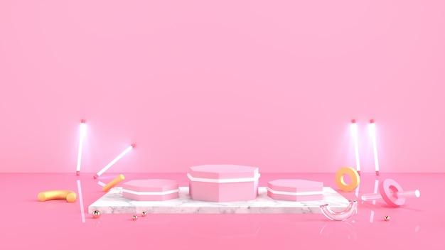 最小限の抽象的な背景3 dレンダリング抽象的な幾何学的形状のピンクの背景
