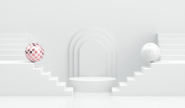 3 dレンダリング白の階段で幾何学的な表彰台