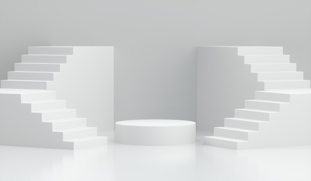 白の階段で3 dレンダリング表彰台