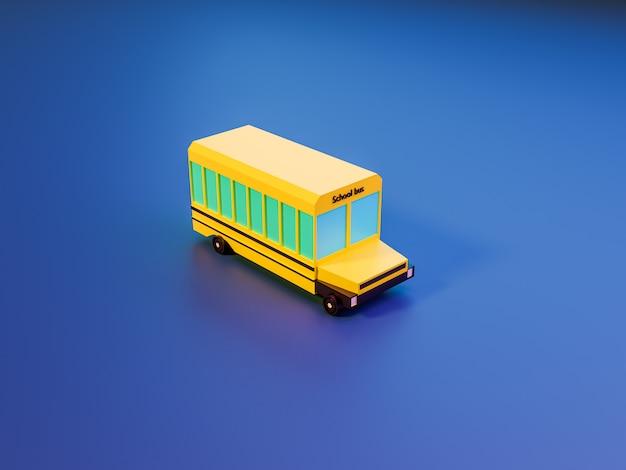 木とネオン色の青い背景のスクールバスの3 dレンダリング。学校のコンセプトに戻る